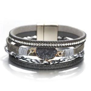 Gray Druzy Shimmer Strap Wrap Bracelet